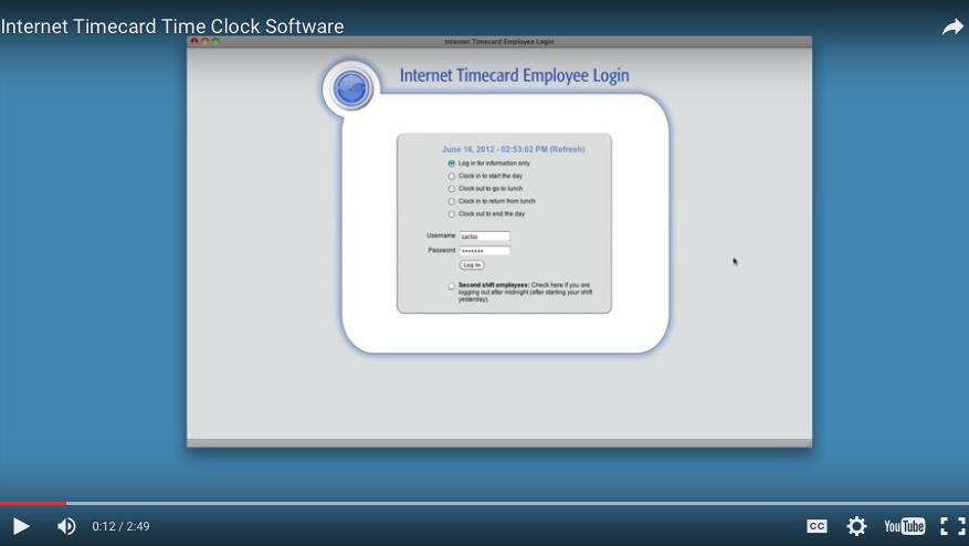 Internet Timecard Attendance Tracking Software